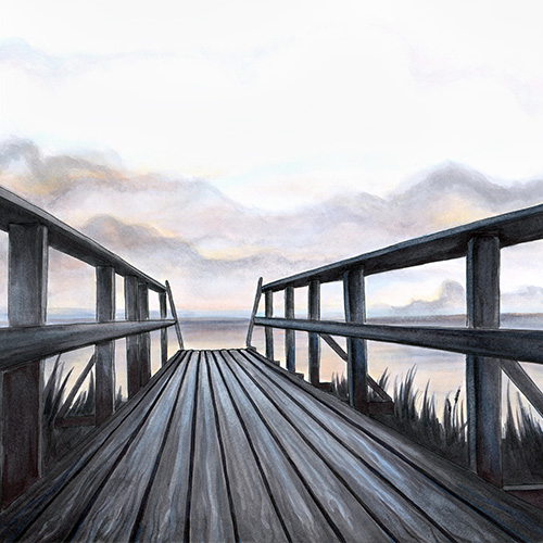 Steg am Meer Julie Weissbach Weißbach Illustration Abendstimmung Küste Strand