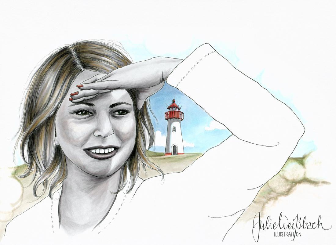 Julie Weissbach Illustration, Frau am Leuchtturm blickt aufs Meer, Nordsee, Strand, Dünen