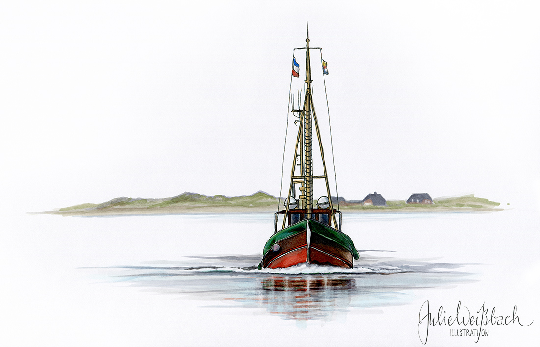 Kutter Julie Weißbach Illustration Fischer Boot Fischerboot Sylt Nordsee Meer