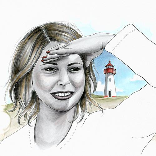 Julie Weissbach Illustration schöne Aussicht Frau vor Leuchtturm an der Nordsee