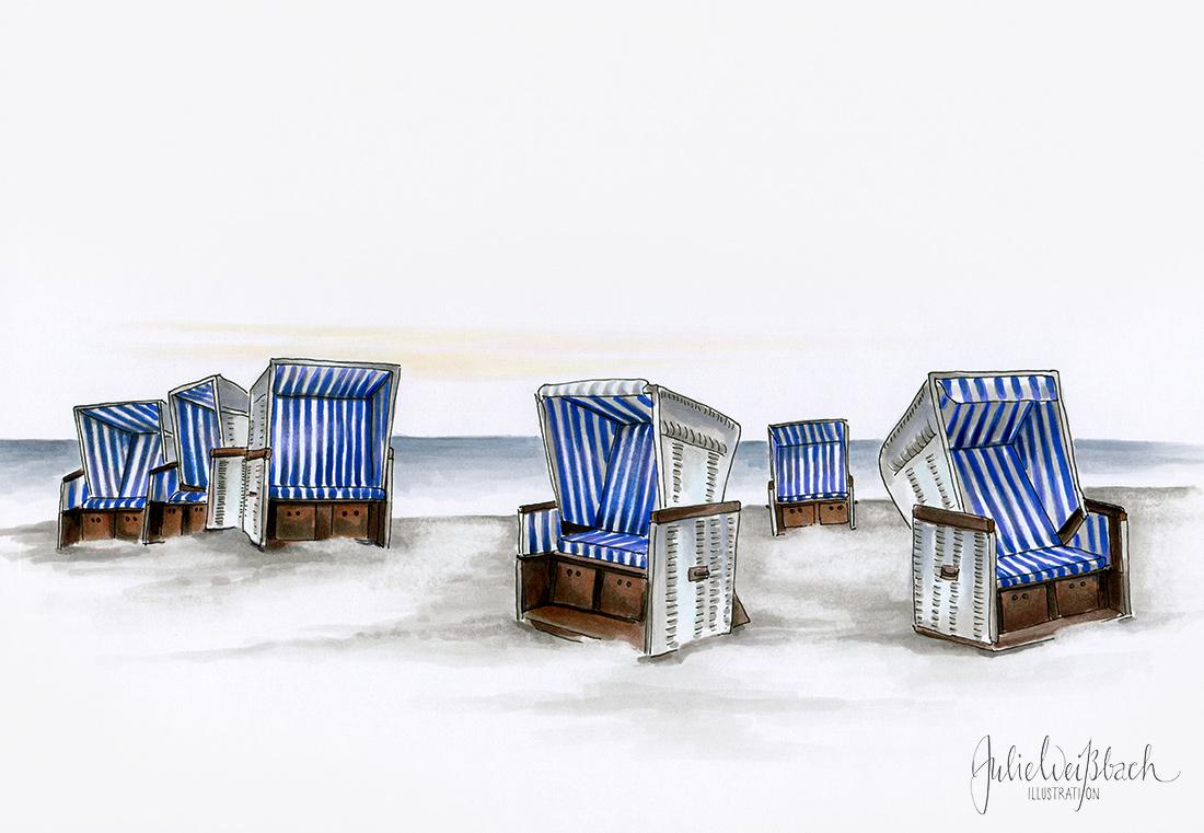 Strandkorb, Strandkörbe am Meer, Sylt, Copic, Julie Weissbach Illustration, Zeichnung