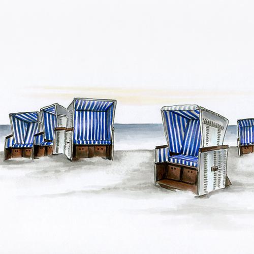 Strandkorb, Strandkörbe, Strand, Illustration, Zeichnung, Copic, Julie Weißbach
