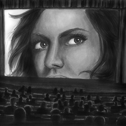 Frau im Kino illustriert von Julie Weißbach