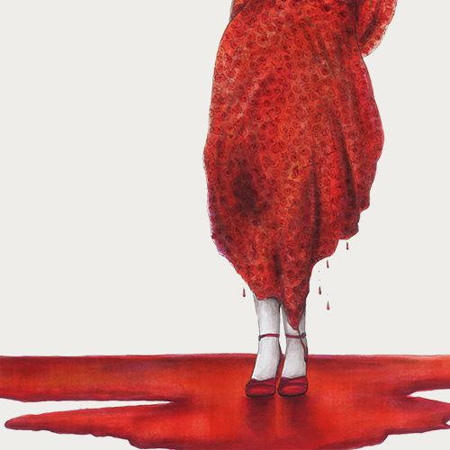 Frau in Rot von Julie Weißbach Illustration