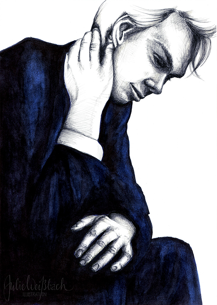 Mann in blau Julie Weißbach Illustration