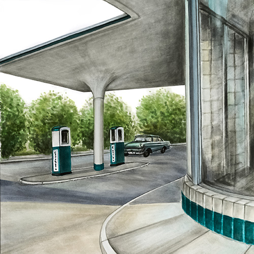 Tankstelle retro Julie Weißbach Illustration