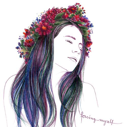 Mädchen mit Blumenkranz Julie Weißbach Illustration